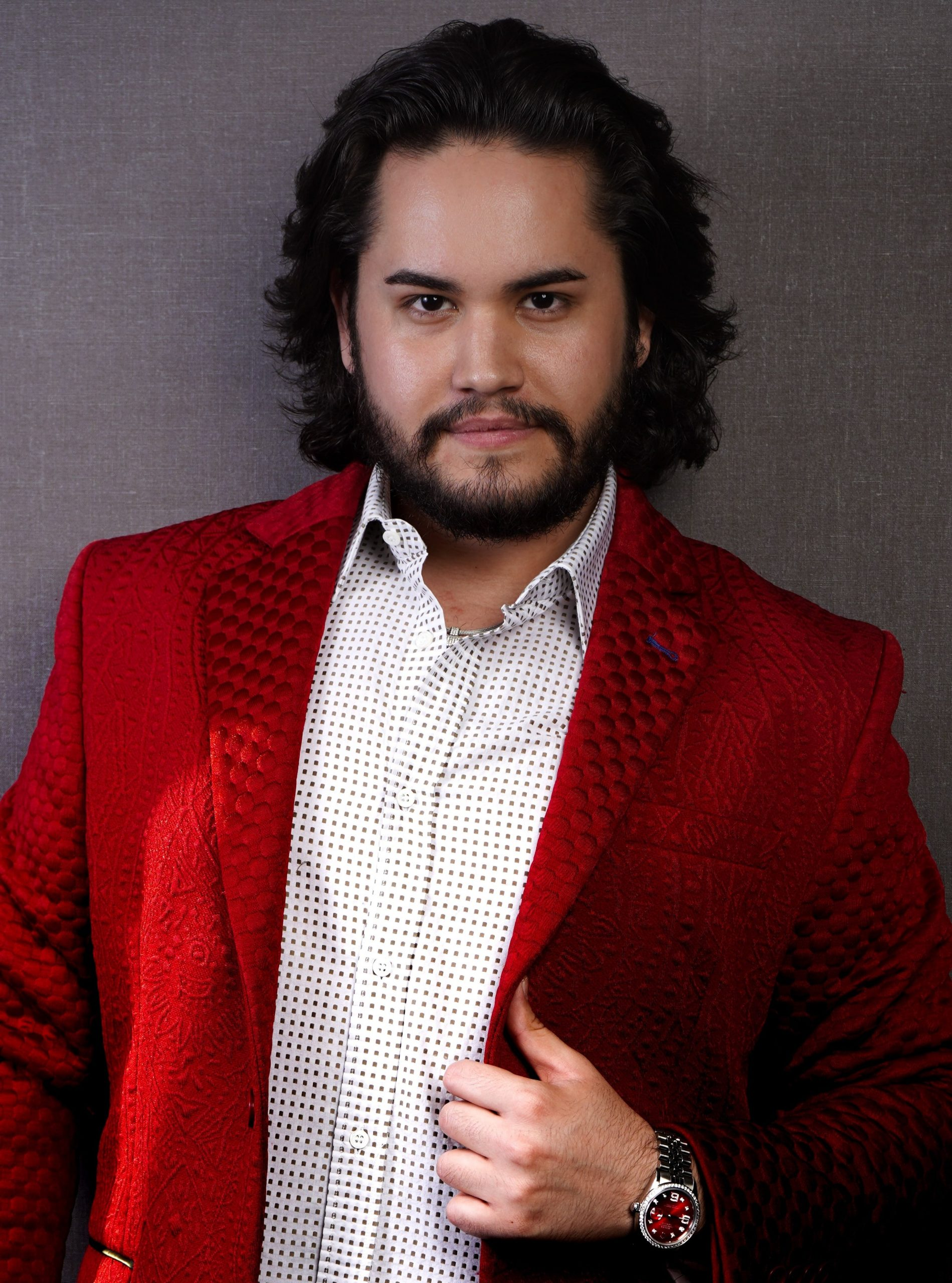 Roman Alexander Wellington in red couture jacket Copy scaled